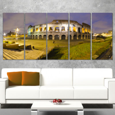 Designart Colosseum By Night Landscape MonumentalCanvas Print - 5 Panels