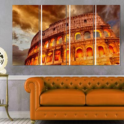 Designart Colosseum In Rome Landscape MonumentalCanvas Print - 4 Panels
