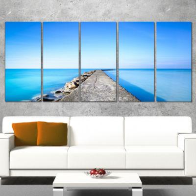 Designart Concrete And Rocks Pier Seascape CanvasArt Print- 5 Panels