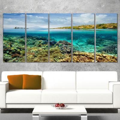Designart Coral Reef Island Seascape Canvas Art Print - 4 Panels