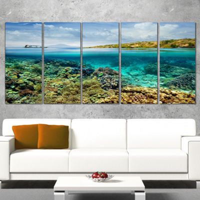 Designart Coral Reef Island Seascape Canvas Art Print - 5 Panels