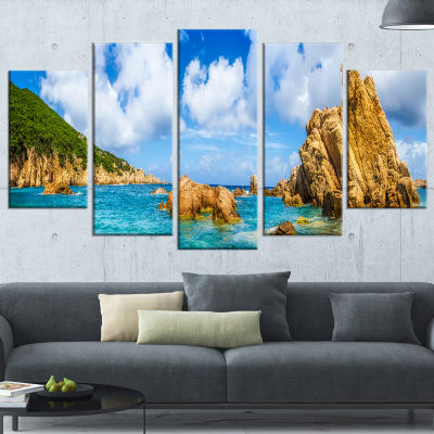 Costa Paradise Panorama Seashore Photo Wrapped Canvas Art Print - 5 Panels