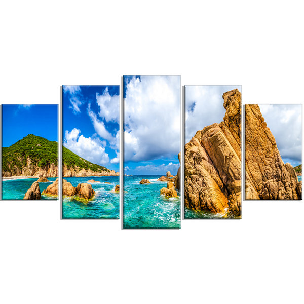 Designart Costa Paradiso Close View Seashore PhotoWrapped Canvas Art Print - 5 Panels
