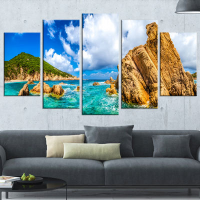 Designart Costa Paradiso Close View Seashore PhotoCanvas Art Print - 5 Panels