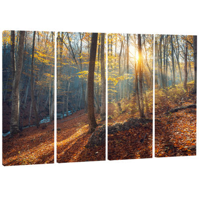 Crimean Mountains At Sunset Landscape PhotographyCanvas Print - 4 Panels