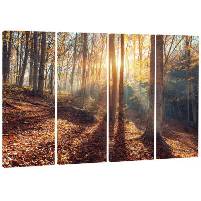 Crimean Mountains Autumn Landscape Photography Canvas Print - 4 Panels