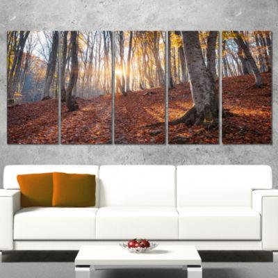 Crimean Mountains Autumn Trees Landscape Photography Canvas Print - 5 Panels
