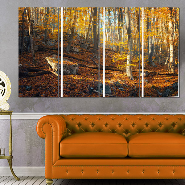 Designart Crimean Mountains Yellow Leaves Landscape Photography Canvas Print - 4 Panels