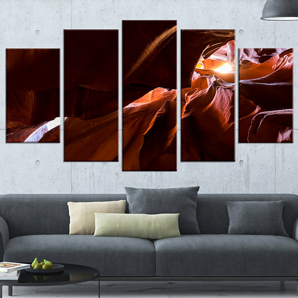 Designart Dark Antelopes Canyon Large Landscape Photo Canvas Art Print - 5 Panels
