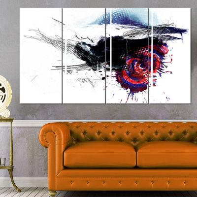 Designart Dark Blue Abstract Splashes Abstract Canvas Art Print - 4 Panels