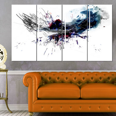 Designart Dark Blue Multicolor Stain Abstract Watercolor Canvas Print - 4 Panels