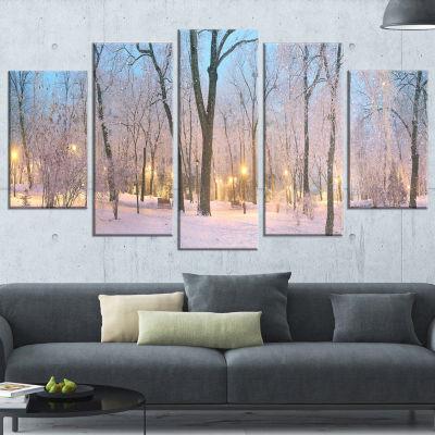 Dark Foggy Mariinsky Garden Landscape PhotographyCanvas Print - 5 Panels