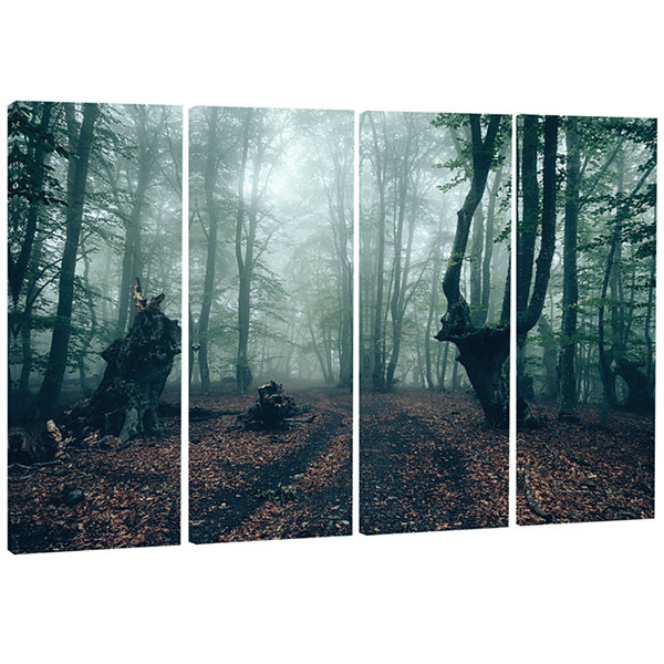 Designart Dark Forest And Dark Trees Landscape Photography Canvas Print - 4 Panels