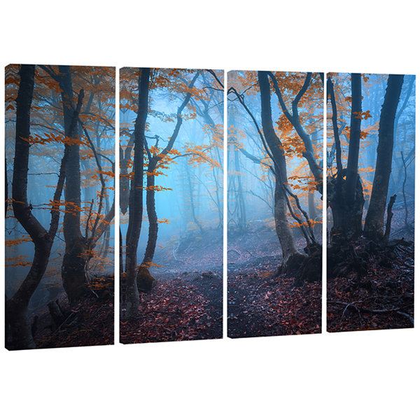 Designart Dark Forest With Orange Leaves LandscapePhotography Canvas Print - 4 Panels