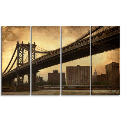 Designart Dark Manhattan Bridge Photography CanvasArt Print- 4 Panels