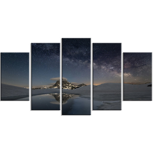 Designart Dark Mountains In Spain Landscape PhotoWrapped Canvas Art Print - 5 Panels