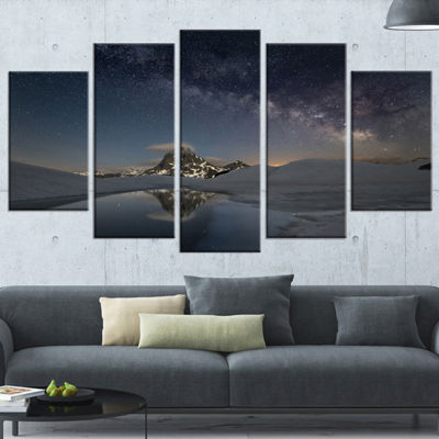 Designart Dark Mountains In Spain Landscape PhotoCanvas Art Print - 5 Panels