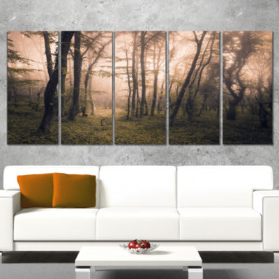 Dark Old Spring Forest Landscape Photography Canvas Print - 4 Panels