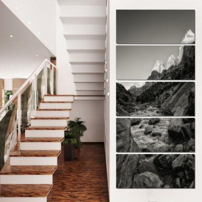 Designart Dark Rapid Virgin River Landscape Photography Canvas Art Print - 5 Panels