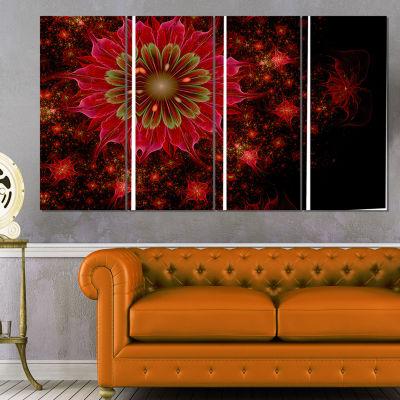 Designart Dark Red And Light Green Fractal FlowersAbstractPrint On Canvas - 4 Panels