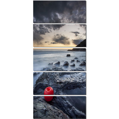 Designart Dark Sunset At Livorno Landscape PhotoCanvas Art Print - 4 Panels