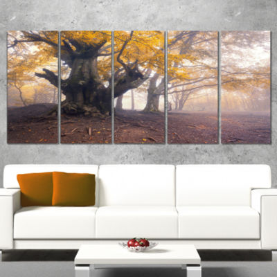 Designart Dark Tree With Yellow Leaves LandscapePhotographyCanvas Print - 4 Panels