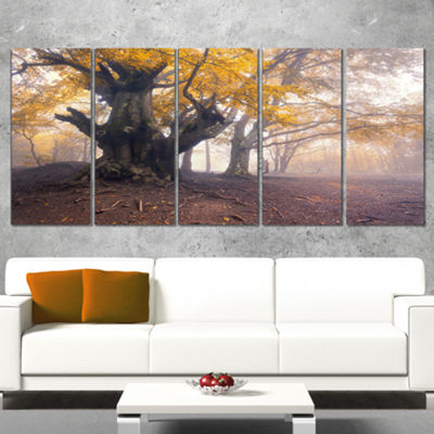 Designart Dark Tree With Yellow Leaves LandscapePhotographyCanvas Print - 5 Panels
