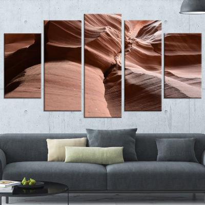 Designart Dark Upper Antelope Canyon Large Landscape Photography Canvas Print - 5 Panels