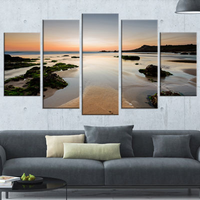Designart Dark Waters At Sunset Seashore Photography CanvasPrint - 5 Panels