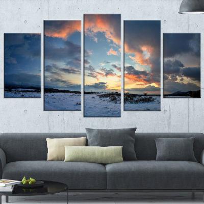 Designart Dark Winter Sky Landscape Photography Wrapped Canvas Art Print - 5 Panels