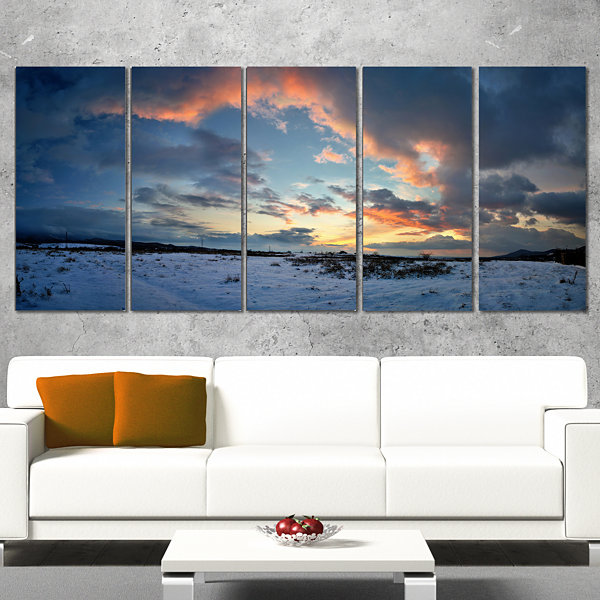 Designart Dark Winter Sky Landscape Photography Canvas Art Print - 5 Panels