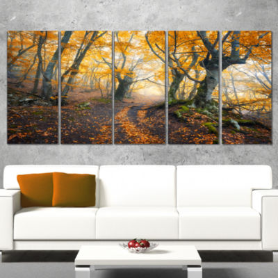 Designart Dark Yellow Old Forest In Fog LandscapePhotography Canvas Print - 4 Panels