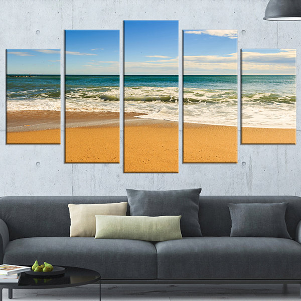 Designart Daylight Relaxation Landscape Photography Wrapped Canvas Art Print - 5 Panels