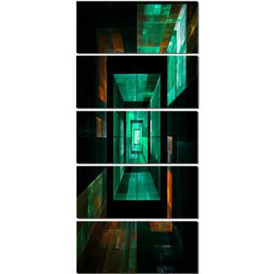 Designart Deep Green Infinite Cube Abstract CanvasArt Print- 4 Panels