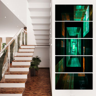 Deep Green Infinite Cube Abstract Canvas Art Print- 5 Panels