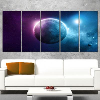 Designart Deep Space Planet Space Canvas Art Print- 5 Panels