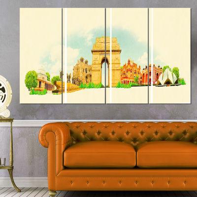 Designart Delhi Panoramic View Cityscape Watercolor Canvas Print - 4 Panels