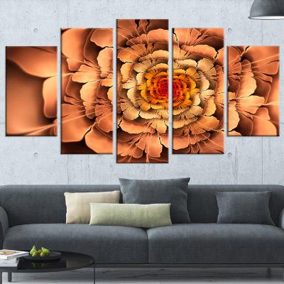 Designart Dense Fractal Brown Petals Floral CanvasArt Print- 5 Panels