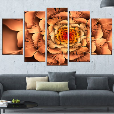 Designart Dense Fractal Brown Petals Large FloralCanvas Art Print - 5 Panels