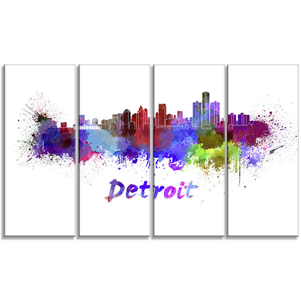 Designart Detroit Skyline Cityscape Canvas ArtworkPrint - 4Panels