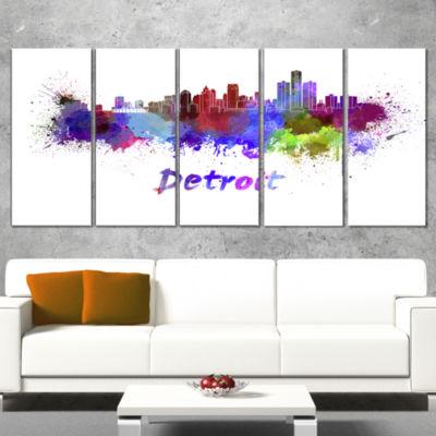 Designart Detroit Skyline Large Cityscape Canvas Artwork Print - 5 Panels