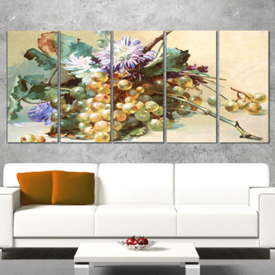 Designart Digital Illustrated Flowers Floral Canvas Art Print - 5 Panels
