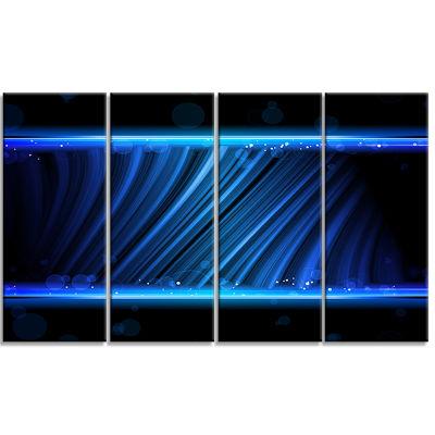 Designart Disco Blue Waves Contemporary Art CanvasPrint - 4Panels