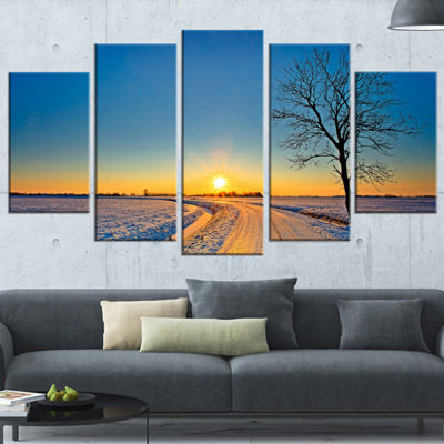 Designart Distant Sunset In Winter Landscape Photography Wrapped Canvas Art Print - 5 Panels