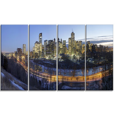 Downtown Calgary Cityscape Photo Canvas Print - 4Panels