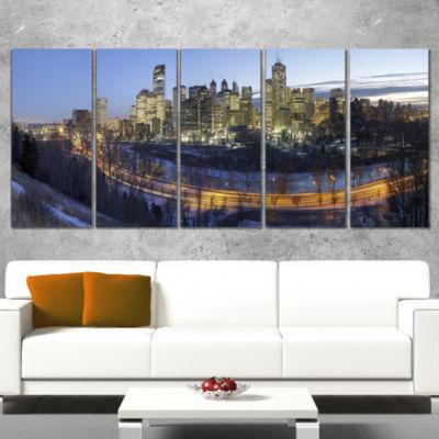Designart Downtown Calgary Cityscape Photo CanvasPrint - 5Panels