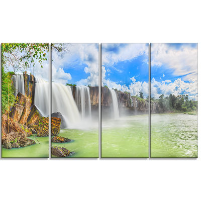 Dry Nur Waterfall Landscape Photo Canvas Art Print- 4 Panels
