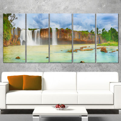 Designart Dry Nur Waterfall Panorama Photography Canvas ArtPrint - 5 Panels