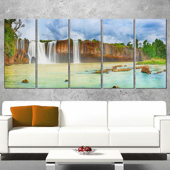Designart Dry Nur Waterfall Panorama Photography Canvas ArtPrint - 5 Panels