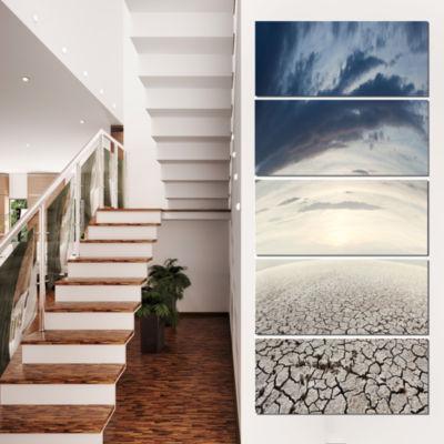 Designart Dry Soil Dreamscape Landscape Photo Canvas Art Print - 5 Panels